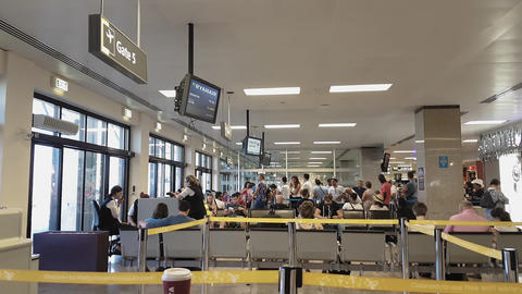 Malta International Airport MLA gates with passengers Live Action