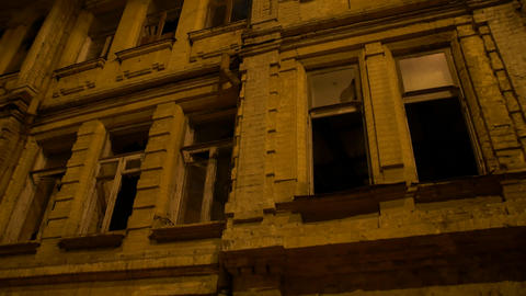 Abandoned Building At Night Footage