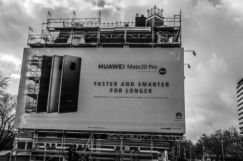 Scaffolds And Advertising For Huawei At Amsterdam The Netherlands 2018 In Black Fotografía