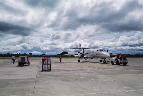 Easyfly airplane on the landing track of the Apartado Airport, Colombia Photo