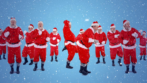 Video composition with falling snow over group santas dancing Animation