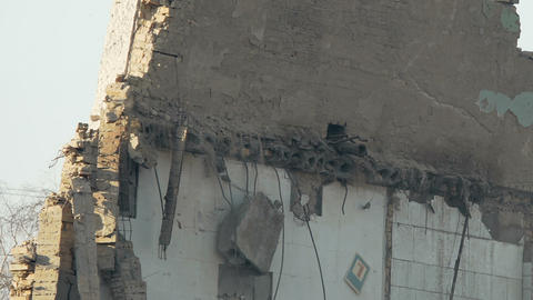 Close up of terrible destruction old building wall, history and war consequences Footage