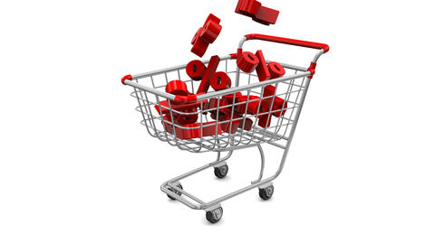 Great holiday sale at a discount. Animated shopping carts with red percentage Footage