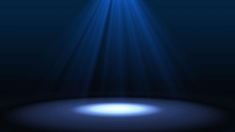 Blue spotlight on stage performance in a theater isolated on black background, Footage