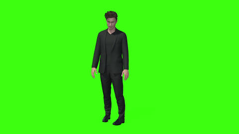 3d model of a man standing and talking, Animation,green screen ビデオ