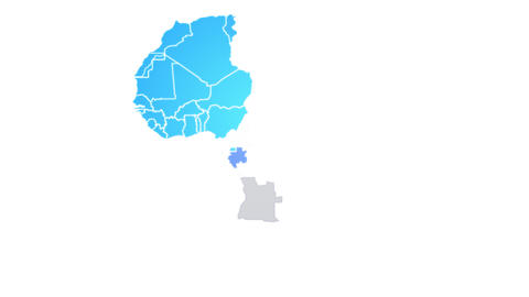 Africa Map Showing Up Intro By Regions Animation