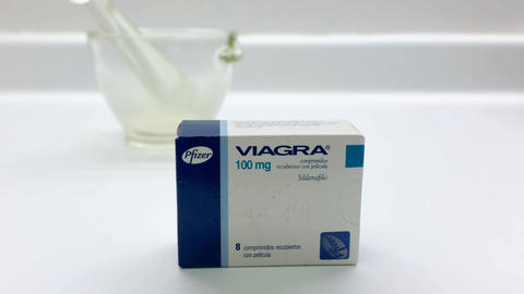 Viagra drug box on January 4, 2019 in Madrid, Spain Footage