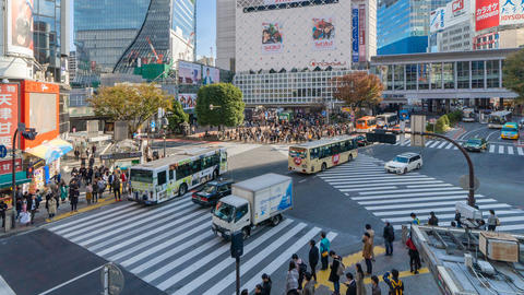 Time lapse of crowd of people crossing on Shibuya street, one of the busiest Footage