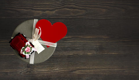 Gift Box With Red Heart Stock Photo Photo
