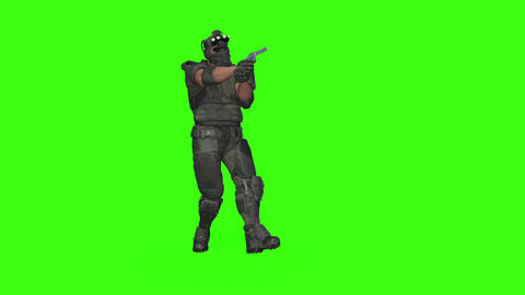 3d model man soldier sneaks up with a gun , Loop, green screen Live Action