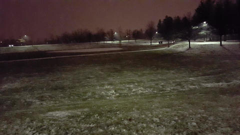 Snowy Night in the Park. Beautiful Evening Snowing View. Night Snowfall Live Action