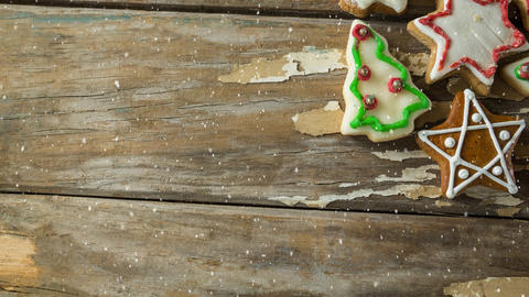 Falling snow with Christmas cookies Animation