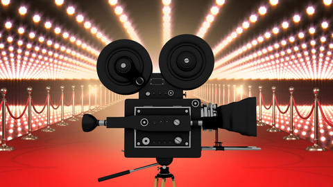 Movie film camera with flashing lights and red carpet Animation