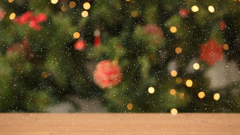 Falling snow and Christmas lights decorations Animation