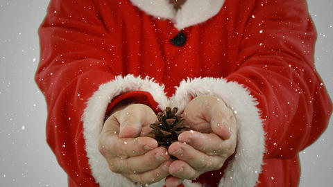 Video composition with falling snow over santa holding pine cone in hands Animation