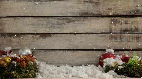 Falling snow with Christmas wood decorations Animation