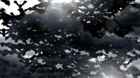 Halloween bats flying with cloudy sky Animation