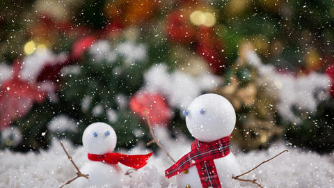 Falling snow with Christmas snowmen decoration Animation