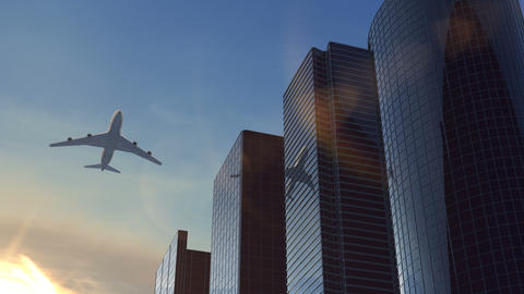Airplane flying over business center at evening Animation