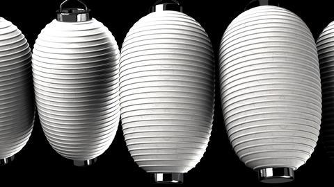 White paper lanterns on black background, Stock Animation