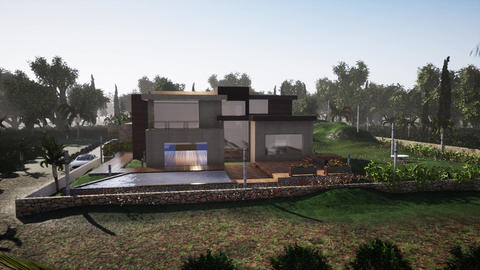modern villa also 4 seasons, spring summer autumn winter animation GIF