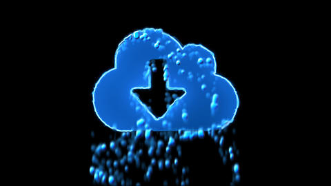 Liquid symbol cloud download appears with water droplets. Then dissolves with CG動画