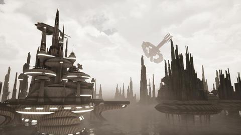 Future city 3D animation . Apocalypse concept Animation