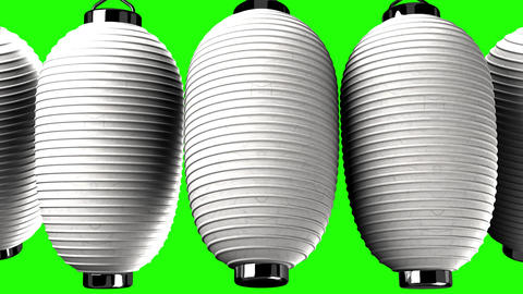 White paper lanterns on green chroma key Animation