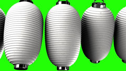 White paper lanterns on green chroma key, Stock Animation