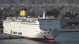 Greece Athens Piraeus harbor Greek Mediterranean car ferry berthed in port Footage
