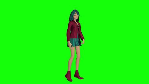 Winking manga girl Stock Video Footage