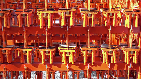 Ema prayer tables with unique Torii gates boards at Fushimi Inari Taisha Temple GIF