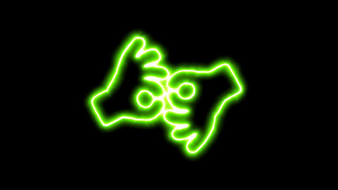 The appearance of the green neon symbol Sign language interpreting. Flicker, In Animation