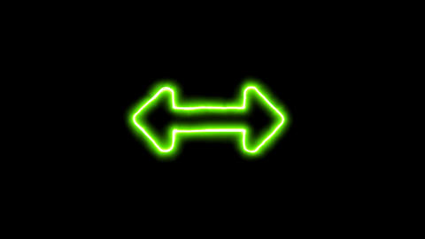 The appearance of the green neon symbol arrows right left. Flicker, In - Out. Animation