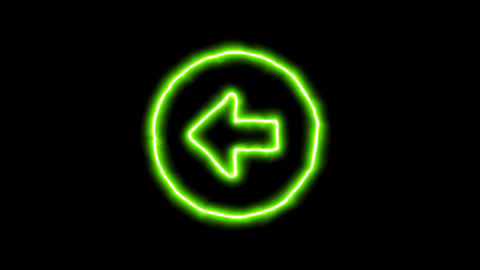 The appearance of the green neon symbol arrow circle left. Flicker, In - Out. Animation