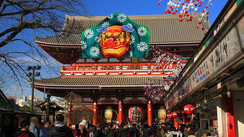 Tourists visit the Sensoji Temple ビデオ