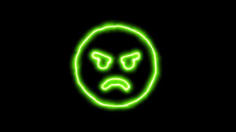 The appearance of the green neon symbol angry emotion. Flicker, In - Out. Alpha Animation