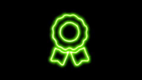 The appearance of the green neon symbol award. Flicker, In - Out. Alpha channel Animation