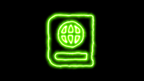 The appearance of the green neon symbol atlas book. Flicker, In - Out. Alpha Animation
