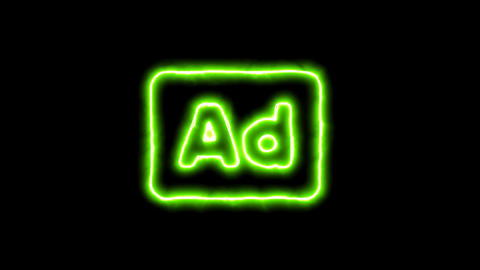 The appearance of the green neon symbol Ad - Advertisement. Flicker, In - Out. Animation