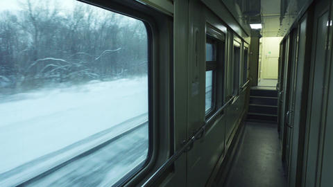 Empty corridor of passenger train car Footage