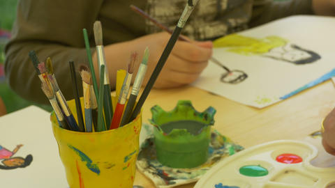 Kids Painting With Watercolors stock footage