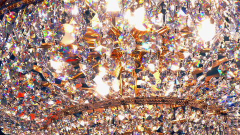4K Crystal Chandelier on and Off Footage