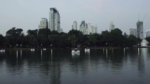 View Of a Evening Bangkok city From Lumpini Park, Thailand Footage