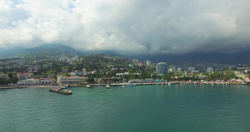 Landscape Of The Bay And City Sea Side Footage