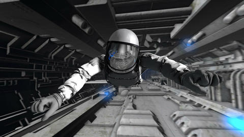 Astronaut moving through the corridors of a dark abandoned spacecraft. Seamless Animation
