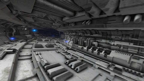 Dark spaceship interior. Seamless animation of the camera moving through the Animation