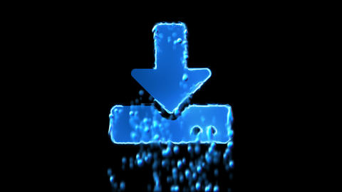 Liquid symbol download appears with water droplets. Then dissolves with drops of CG動画