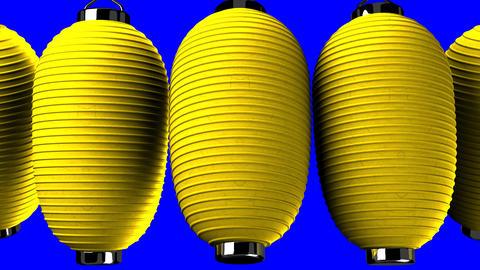 Yellow paper lantern on blue chroma key CG動画