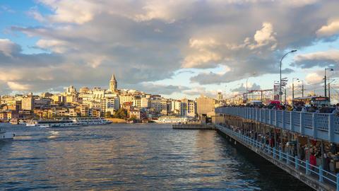 Istanbul, Turkey time lapse of Galata Bridge in Istanbul, Turkey Footage